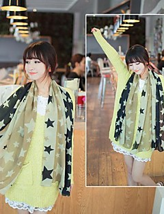 Women's The Big Five Pointed Star Pattern Long Lady Chiffon Scarves Scarf