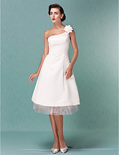 A-line/Princess Plus Sizes Wedding Dress - Ivory Knee-length One Shoulder Satin/Tulle