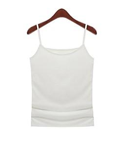 Women's Solid White T-shirt Sleeveless