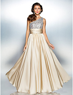 Prom / Formal Evening / Military Ball Dress - Plus Size / Petite Sheath/Column One Shoulder Floor-length Satin Chiffon