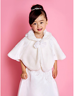 Flower Girl Faux Fur ilta / Wedding huivi Bow