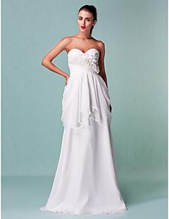 Lan Ting Sheath/Column Plus Sizes Wedding Dress - Ivory Floor-length Sweetheart Chiffon