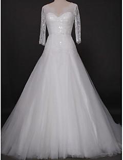 Lanting Bride® 핏 & 플레어 웨딩 드레스 성당 트레인 V-넥 레이스 / 튤 와 레이스 / 비즈 / 버튼