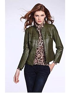 kakani 여성의 유럽 패션 긴 소매 단색 코트