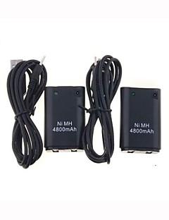 2 x cargador usb paquete del cable + de la batería para Xbox 360 controlador inalámbrico