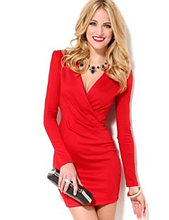 Women's Deep V/Surplice Neck Mini Dress , Cotton/Others Red/White Sexy/Bodycon/Casual/Cute/Party/Work