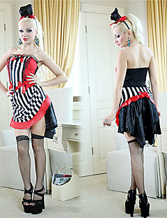Cosplay Costumes / Party Costume Burlesque/Clown Festival/Holiday Halloween Costumes Red/Black Patchwork Top / Skirt / HatsHalloween /