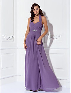 Floor-length Chiffon Bridesmaid Dress Sheath / Column Halter Plus Size / Petite with Beading / Draping / Criss Cross / Ruching