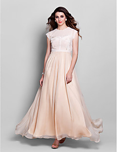 Formal Evening/Prom/Military Ball Dress - Champagne Sheath/Column Jewel Floor-length Chiffon/Lace