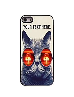 Personalized Case Cat with Glasses Design Metal Case for iPhone 5/5S