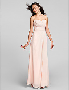 Lanting Bride® Floor-length Chiffon Bridesmaid Dress Sheath / Column Sweetheart Plus Size / Petite with Criss Cross / Ruching