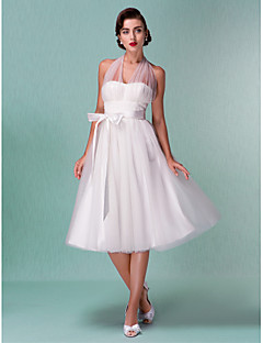 Lan Ting A-line/Princess Plus Sizes Wedding Dress - Ivory Knee-length Halter Satin/Tulle