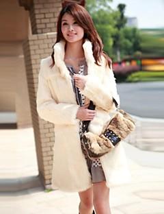 Women's Fashion Casual Pure Color Imitation Fur Long Warm Coat