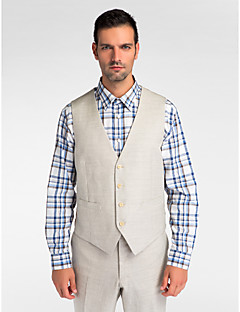 Gray Wool Tailored Fit Vest