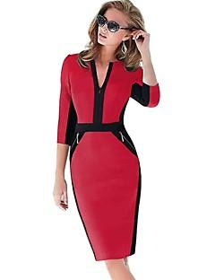 Damen Kleid - Hülle Übergröße / Sexy Einfarbig Übers Knie Baumwoll-Mischung V-Ausschnitt