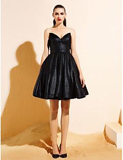 hemkomst ts couture cocktailparty klänning - svart balklänning v-ringad knälång jersey