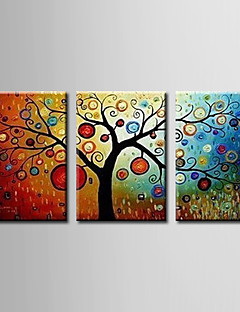 pintados a mano, pintura al óleo abstracta con el marco de estirado - juego de 3