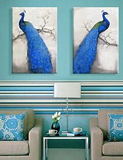 2のキャンバス地アート青い孔雀の装飾塗装セット