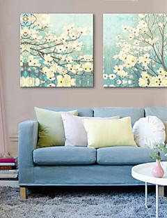 Sträckta canvas konst Blommor Myllrande Set av 2