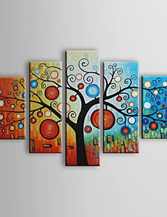 Hand-painted Abstract Life Trees Oil Painting with Stretched Frame - Set of 5