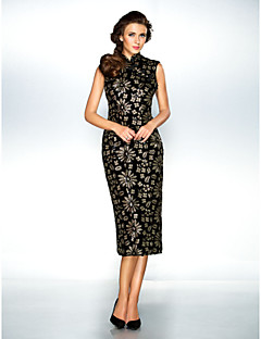 TS Couture® Cocktail Party / Holiday Dress - Black Plus Sizes / Petite A-line / Princess High Neck Ankle-length Sequined