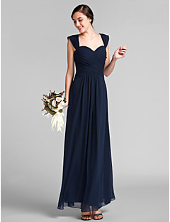 Lanting Bride® Floor-length Chiffon Bridesmaid Dress - Sheath / Column Sweetheart Plus Size / Petite with Draping / Criss Cross
