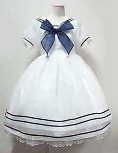 Kawaii Sailor Girl Puff Sleeve High Waist Organza School Lolita Dress(Length:83-87cm)