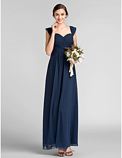 Lanting Bride Floor-length Chiffon Bridesmaid Dress Sheath / Column Sweetheart Plus Size / Petite with Draping / Criss Cross
