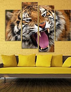 venytetty kankaalle tiikeri sisustus sarja 4