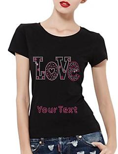 mangas curtas strass personalizado padrão camisetas amor de algodão das mulheres