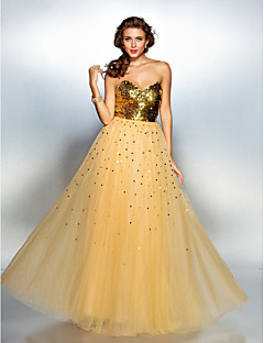 TS Couture® Prom / Formal Evening Dress Plus Size / Petite A-line Sweetheart Floor-length Tulle / Sequined with Sequins