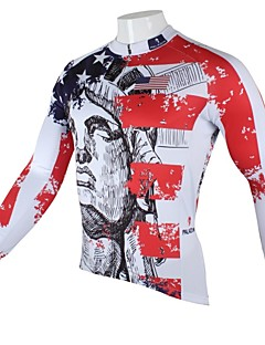 PaladinSport Men's  Summer and Autumn Style 100% Polyester American Elements Red Long Sleeved Cycling Jersey