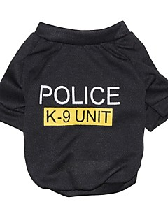 Cat / Dog Shirt / T-Shirt Black Dog Clothes Summer Letter & Number / Police/Military Fashion