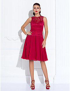TS Couture® Cocktail Party / Holiday Dress - Ruby Plus Sizes / Petite A-line Jewel Knee-length Chiffon / Lace