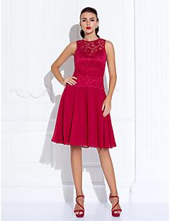 TS Couture Cocktail Rimpatriata di classe Per eventi Vestito - Corto Linea-A Con decorazione gioiello Al ginocchio Chiffon Di pizzo conDi