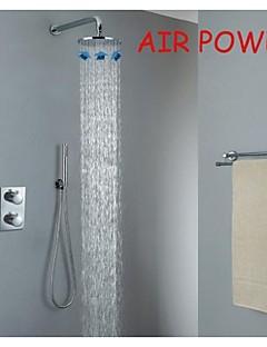 précipitations thermostatique bain douche robinet, injection d'air chromé de 10 pouces tête de douche ronde et douche en laiton de main