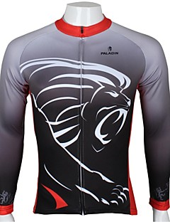 PaladinSport Men's  Summer and Autumn Style 100% Polyester Lions Spend Black Red Long Sleeved Cycling Jersey