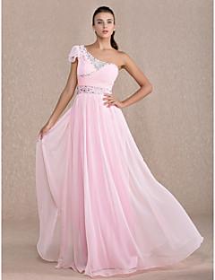 저녁 정장파티/프롬/밀리터리 볼 드레스 - 캔디 핑크 시스/컬럼 바닥 길이 원 숄더 쉬폰 플러스 사이즈