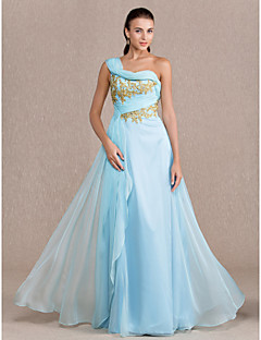 Formal Evening/Prom/Military Ball Dress - Sky Blue Plus Sizes Sheath/Column One Shoulder Floor-length Chiffon