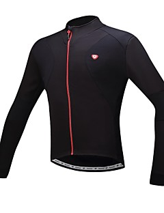 SANTIC® Cycling Jersey Men's Long Sleeve Bike Breathable / Thermal / Warm / Fleece Lining Jersey Polyester Solid Fall/Autumn / Winter