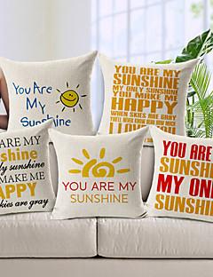 """ensemble de 5 """"tu es mon soleil"""" coton / lin taie d'oreiller décoratif"""
