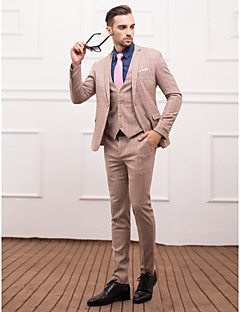 Light Brown Polyester Slim Fit Three-Piece Suit