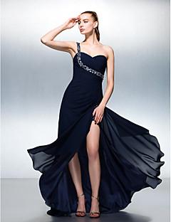 저녁 정장파티 드레스 - 다크 네이비 A라인 스위프/브러쉬 트레인 원 숄더 쉬폰