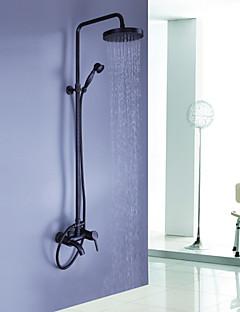 アンティーク シャワーシステム レインシャワー ハンドシャワーは含まれている with  セラミックバルブ 三つ シングルハンドル三穴 for  オイルブロンズ , シャワー水栓