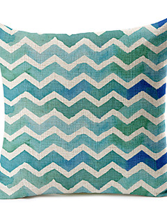 bleu géométrique motif coton / lin taie d'oreiller décoratif