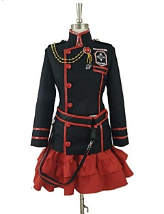 Inspired by D.Gray-man Lenalee Lee Video Game Cosplay Costumes Cosplay Suits Patchwork Black / Red Long Sleeve Coat / Skirt / Belt / Socks