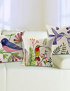 conjunto de 3 aves vivas algodão / linho fronha decorativo
