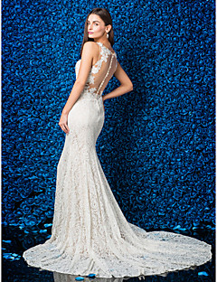 LAN TING BRIDE Trumpet / Mermaid Wedding Dress See-Through Chapel Train Jewel Lace with Appliques Button