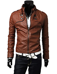 Heide Men's Stand Collar Motor Leather Coat
