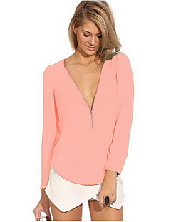 Clement Women's European Chiffon Sexy Temperament V-neck Long Sleeve